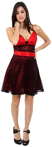 Short Sequined Prom Dress with Removable Sash. 1123.