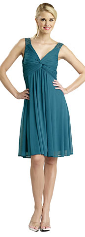 Ruched Twist Knot Bust Short Graduation Dress. 11240.