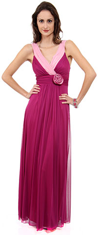 V-Neck Two Tone Long Formal Bridesmaid Dress. 11246.