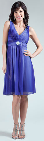 Two Tone V-Neck Shimmery Graduation Dress. 11251.