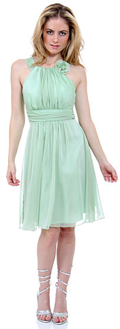 Empire Cut Shirred Knee Length Bridesmaid Dress. 11281.