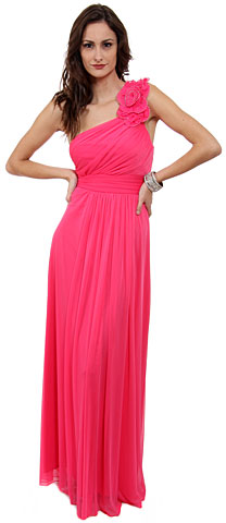 Single Floral Applique Shoulder Long Bridesmaid Dress. 11295.