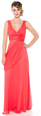 V-Neck Formal Dress with Draped Side Sash. 11325.