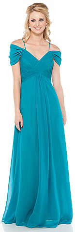 Cap Sleeve Long Bridesmaid Dress with Spaghetti Straps. 11326.