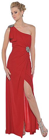 Single Shoulder Formal Dress with Slit And Patch Accent. 11328.