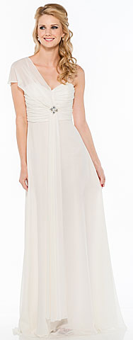 Single Sleeve & Sash Long Formal Bridesmaid Dress. 11331.