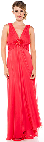 V Neck Formal Dress with Bead Accent at Front Center