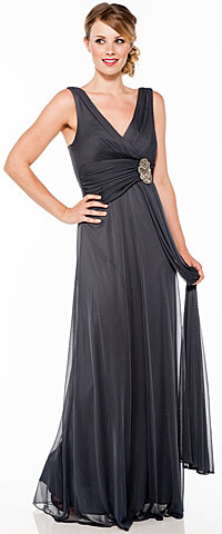 V Neck Ruched Waist with Sash Long Formal Dress . 11334.