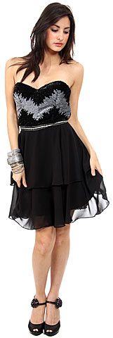 Strapless Ruffled Skirt Sequined Bust Short Party Dress . 1133.