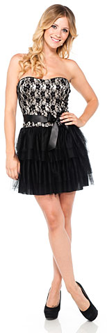 Strapless Lace Bust Short Party Dress with Tiered Skirt. 11347.