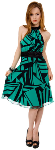 Halter NeckKnee Length Dress in Geometric Print