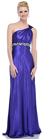 Empire Jewel Waist One Shoulder Long Formal Dress. 11365.