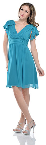 Wrap Style Short Cocktail Dress with Ruffled Sleeves. 11370.