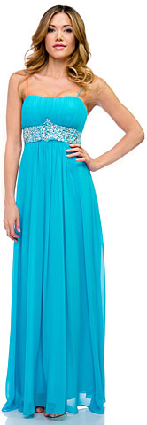 Empire Cut Long Formal Dress with Bejeweled Waist. 11375.