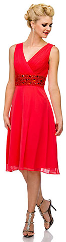V-Neck Knee Length Formal Bridesmaid Dress with Pleating . 11379.