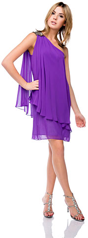 Roman Inspired One Shoulder Draped Party Party Dress . 11382.
