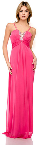 Double Spaghetti Straps Long Formal Dress with Jewels. 11386.