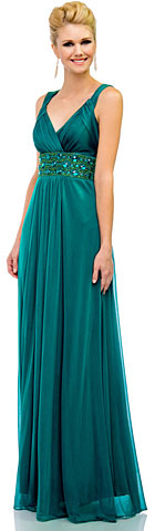 V-Neck Broad Straps Long Bridesmaid Dress with Chunky Beads. 11388.