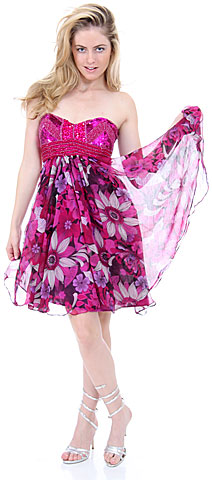 Strapless Floral Print Short Homecoming Party Dress. 1138.