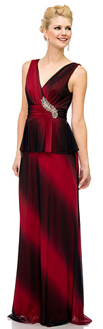 V-Neck Ombre Peplum Long Dress with Decal on Waist