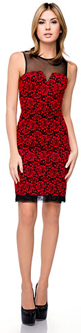 Floral Lace Short Party Dress with Mesh Trim. 11400.
