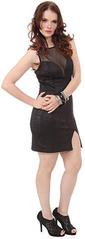 Embossed Short Cocktail Party Dress with Mesh at Bust. 11401.