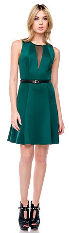 Paneled Techno Short Dress with Belt on Waist. 11403.