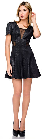 Short Sleeves Mini Party Dress with Mesh at Neck & Waist