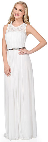 Sheer Lace Top Waist Belt Long Bridesmaid Dress. 11408.