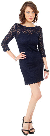 Floral Pattern Lace Short Homecoming Dress with 3/4 Sleeves. 11409.