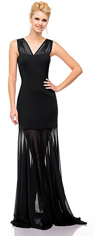 V-Neck Floor Length Sheer Skirt Cocktail Dress . 11412.