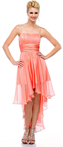 Spaghetti Straps Ruched High Low Party Prom Dress. 11413.