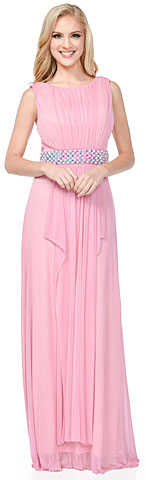 Gathered Bust Beaded Waist Long Formal Bridesmaid Dress. 11415.