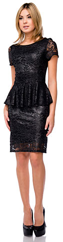 Metallic Lace Peplum Short Formal Party Prom Dress. 11417.