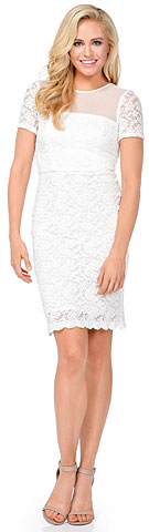 Short Sleeves Form Fitting Short Formal Party Dress in Lace. 11418.