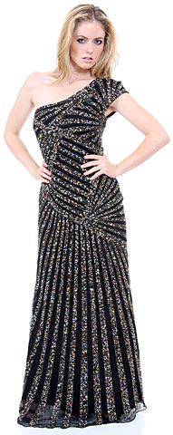 Full Length Sophisticated Sequined Prom Gown. 1141.