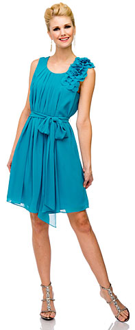 Pleated Short Bridesmaid Dress with Floral Shoulder & Waist Sash. 11423.
