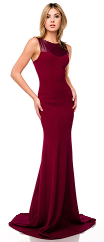 Faux Leather Panel Fitted Long Formal Evening Dress. 11424.