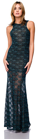 Racer Front Long Metallic Lace Formal Cocktail Dress