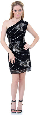 One-Shoulder Sequined Cocktail Dress. 1142.