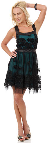 Rosette Pattern Short Formal Party Dress in Mesh. 11432.