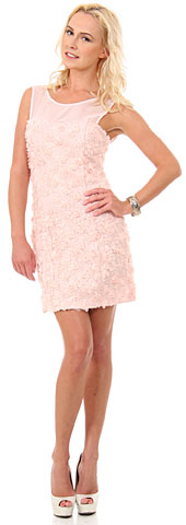 Rosette Short Party Dress with Sheer Neckline. 11438.