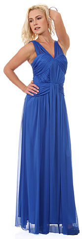 Ruched Bodice Long Formal Bridesmaid Dress. 11442.