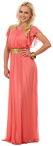 Ruffle Sleeves Long Formal Formal Dress with Sequins. 11444.