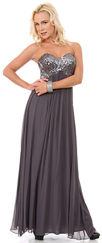 Strapless Sequins Bust Long Formal Bridesmaid Dress