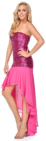 Strapless Sequins Bodice High Low Formal Evening Party Dress. 11449.