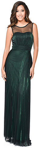 Sheer Neckline Metallic Long Bridesmaid Dress. 11455.