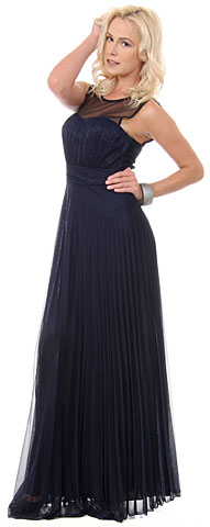 Sheer Neckline Metallic Long Formal Evening Dress. 11455.