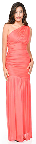 One Shoulder Shirred Mermaid Style Long Formal Bridesmaid Dress. 11458.