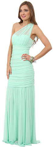 One Shoulder Shirred Mermaid Style Long Formal Prom Dress. 11458.